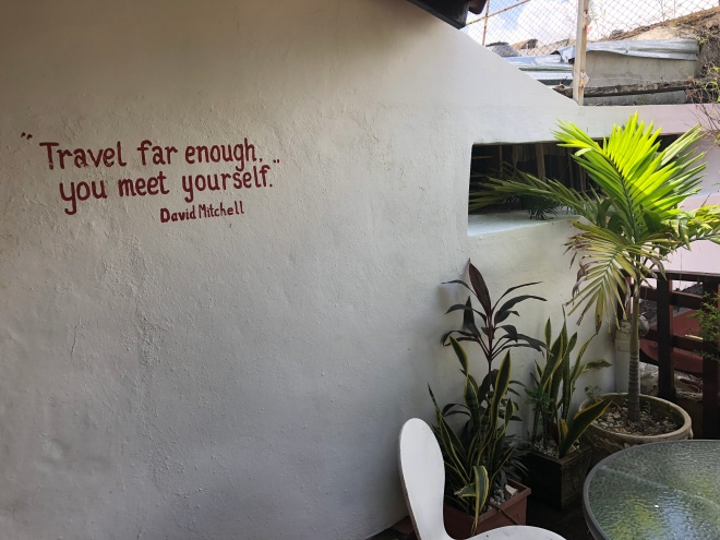 traveling quote on wall at hostel in Dominican Republic