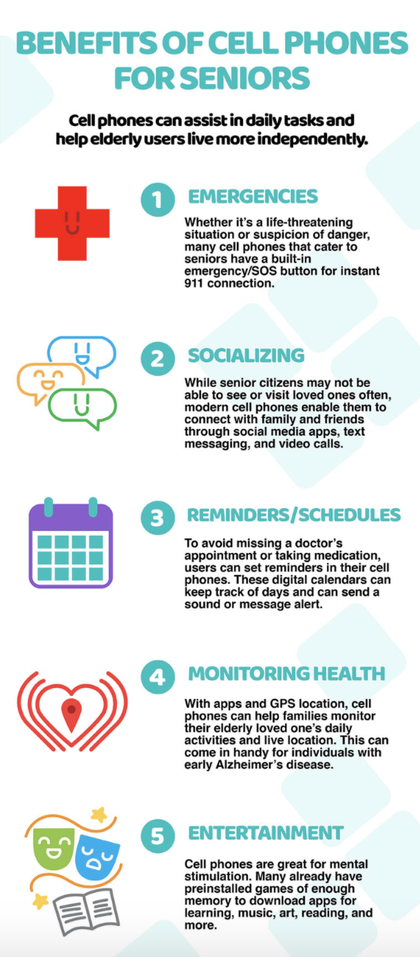 infographic listing of benefits for seniors with cell phones