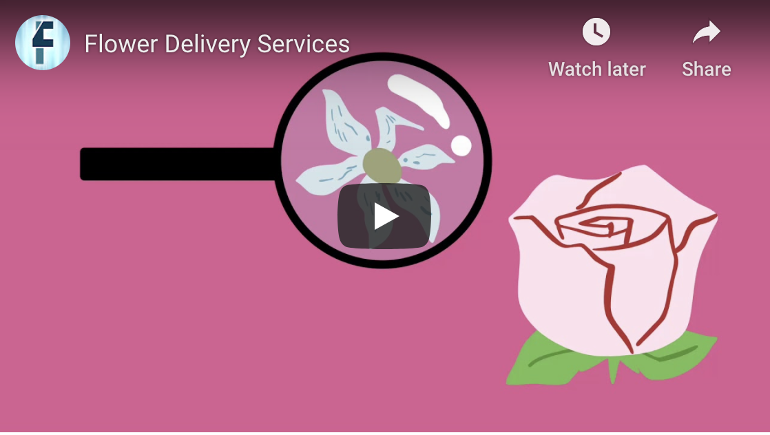 screenshot of flower deliveries youtube video link